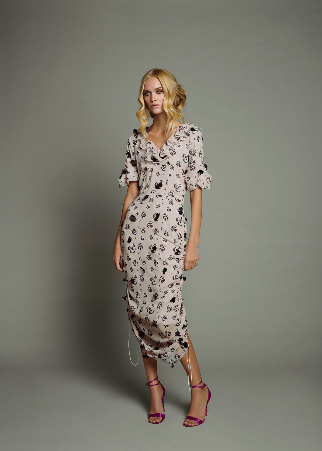Pink Poppy Print Side Toggle Dress with 3D Bordeaux Petals