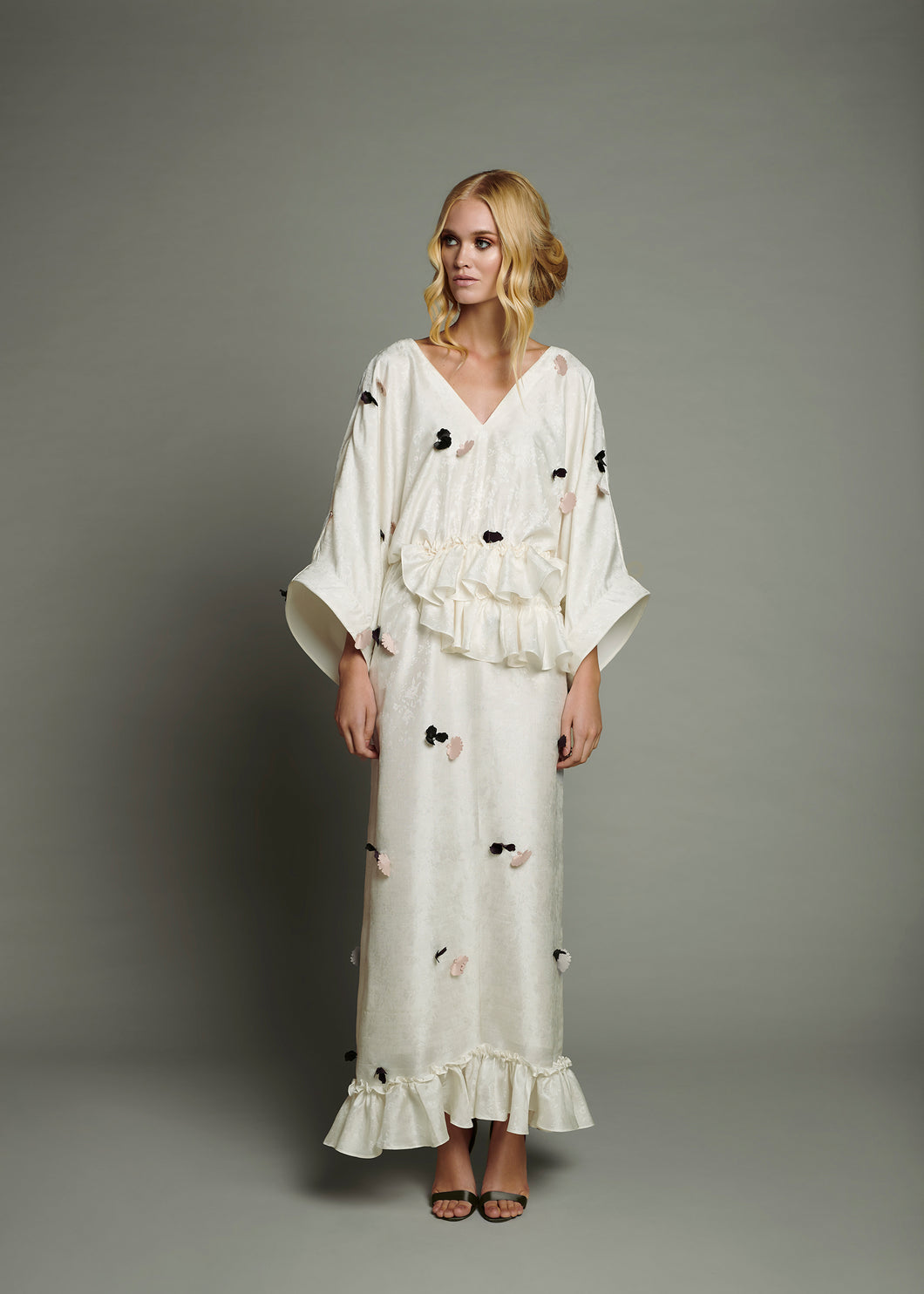 White Jacquard Maxi Dress with Horse Hair Ribbon Sleeve Trim and Bordeaux and Nude 3D Petal Appliqué
