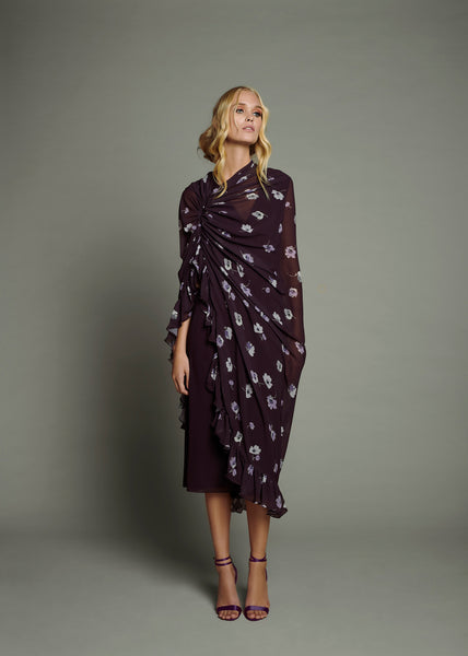 Bordeaux Floral Chiffon Cape Dress