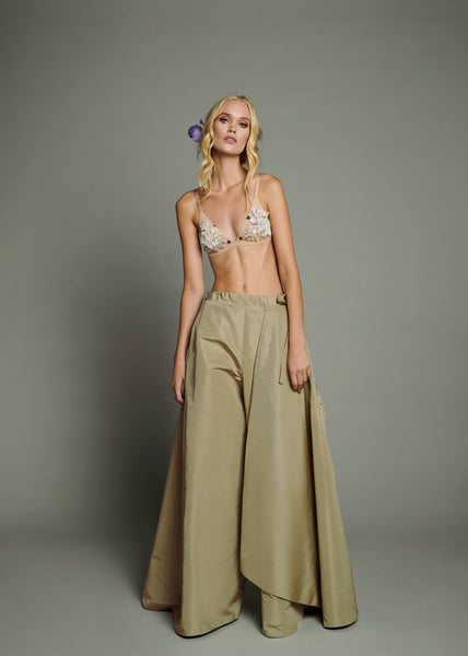 Floral Beaded Bralet & Pale Sage Green Pure Silk Taffeta Wide Leg Trouser