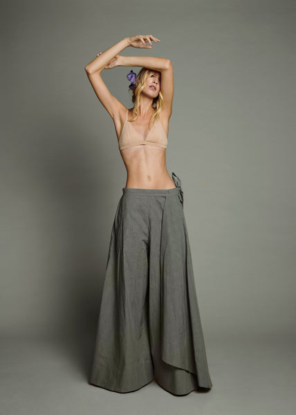 Nude Bralet & Grey Cotton Wide Leg Trouser