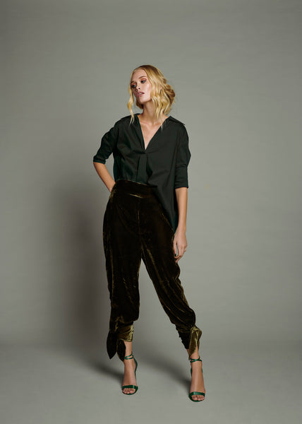 Black Poplin Bubble Black Shirt & Grey Cotton Wide Leg Trouser