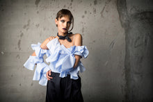 Load image into Gallery viewer, Baby Blue Poplin Cut Away Sleeve Blouse