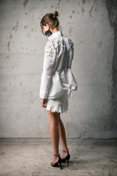 White Silk 3D Floral Appliqué Parka & White Neoprene Floral Embroidered Hem Skirt