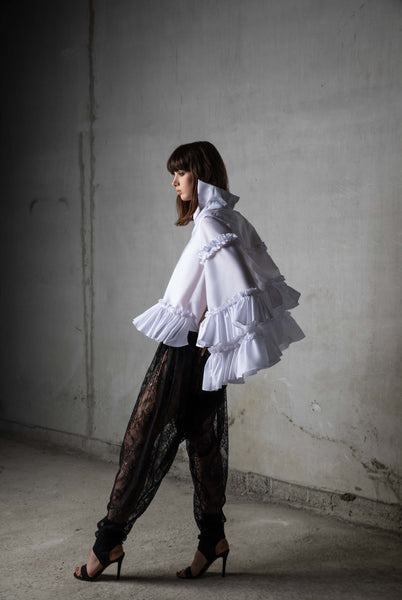 White Silk Cape Shirt & Black Lace Draped Pants