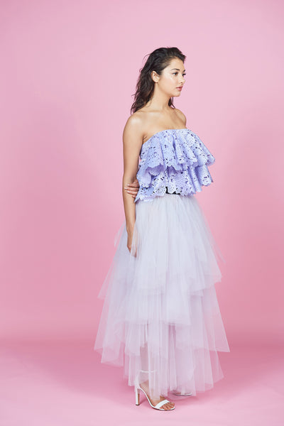 Lilac Laser Cut Out Top & Lilac Tulle Ruffled Skirt