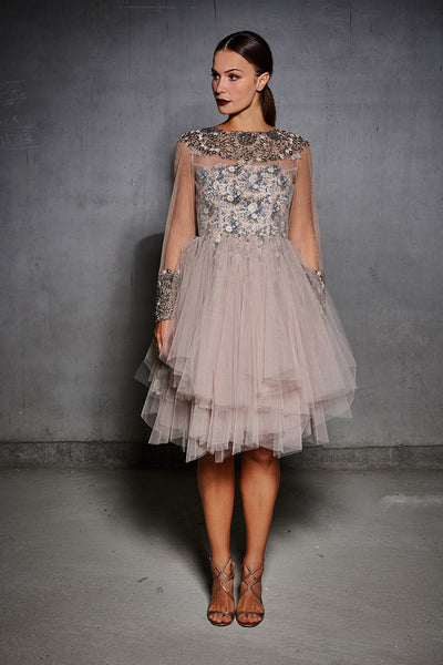 Nude Tulle Antique Yoke and Cuff Dress