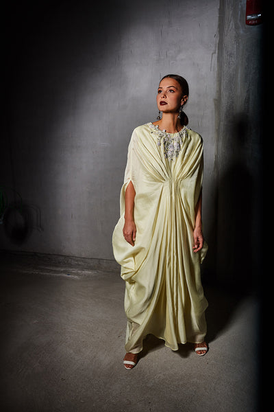 Yellow Chanderi Kaftan