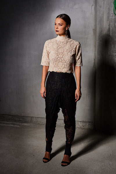 Off White Pearl High Neck Jacket With  Black Lace Draped Pant