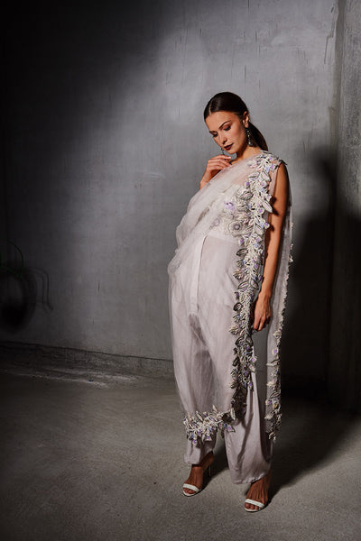 Lilac and Off White Floral Embroidered Bustier and Blush pink Silk Trouser with Draped Floral Border Tulle Saree