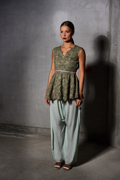 Green Floral Embroidered Peplum with Mint Green Silk Trouser