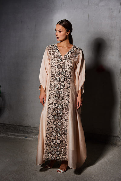 Nude Silk Embroidered Kaftan