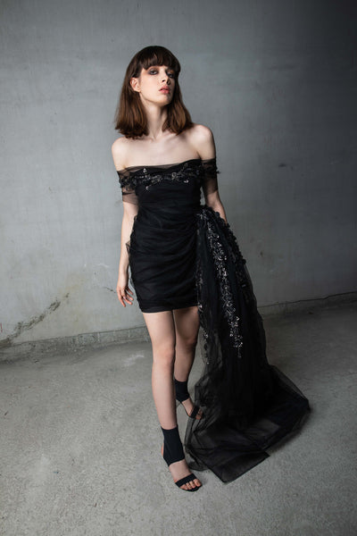 Black Draped Side Panel Gown with Silver Beads and Feathers
