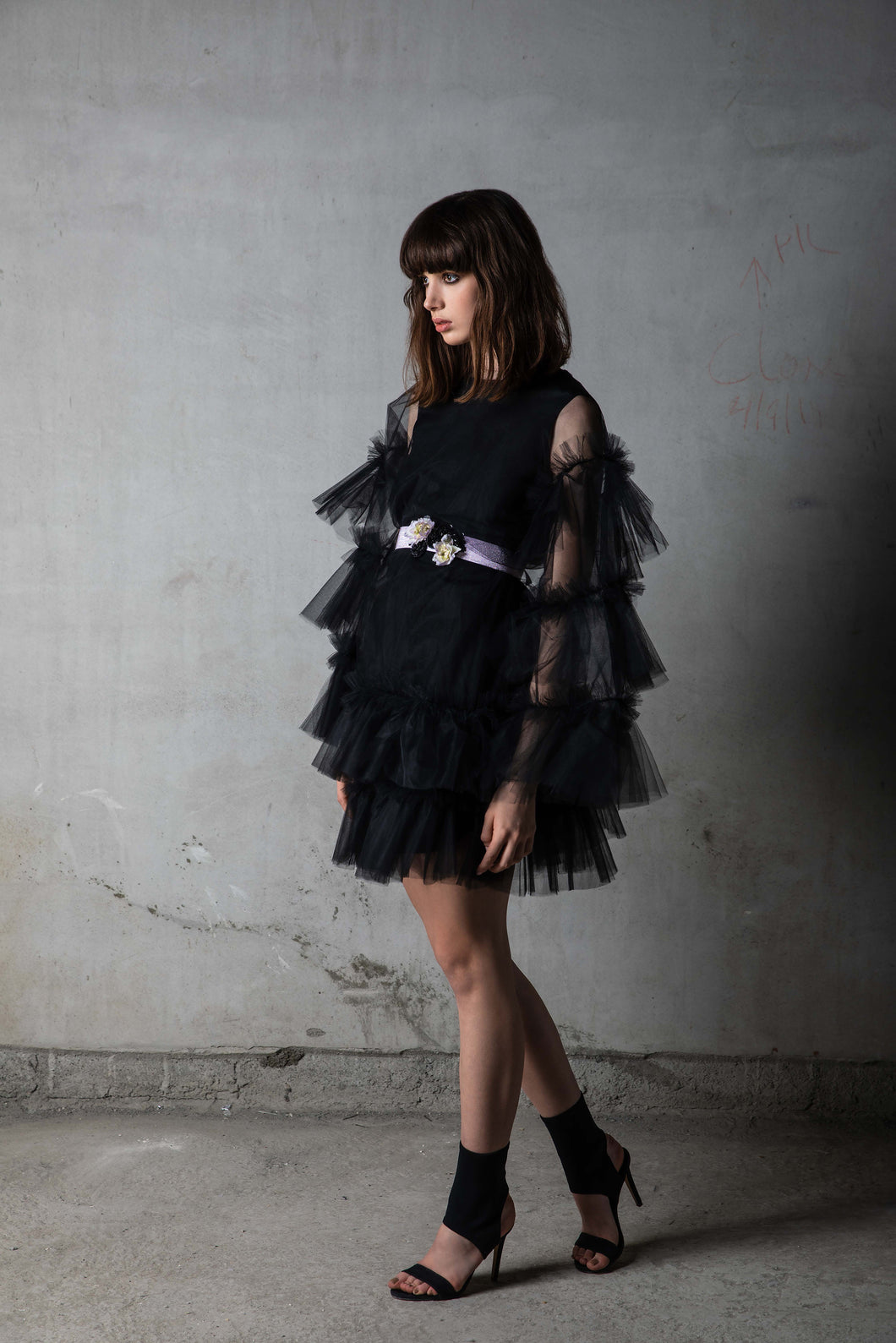 Black Tulle Tiered Kaftan with Floral Lilac Belt