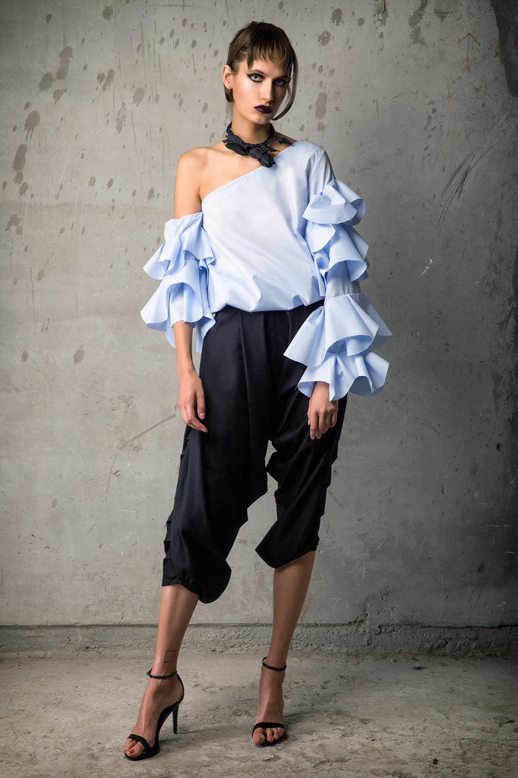 Baby Blue Poplin Assymetric Blouse & Black Gabardine Draped Trouser