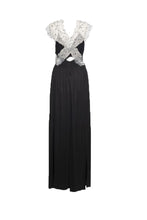 Load image into Gallery viewer, Black Jersey and Lace Band Maxi Dress