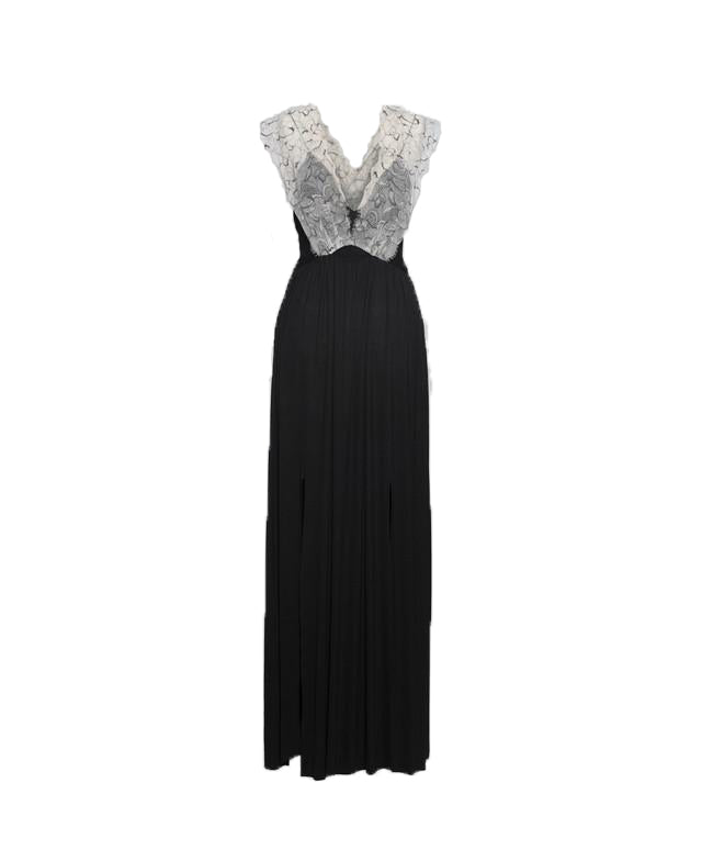 Black Jersey and Lace Band Maxi Dress