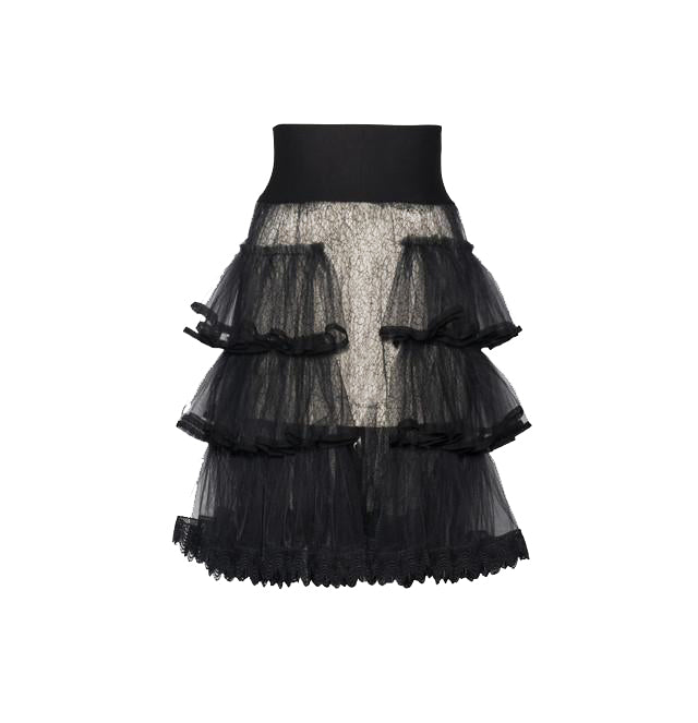 Black Lace Trimmed Ruffle Skirt with Jersey Waistband
