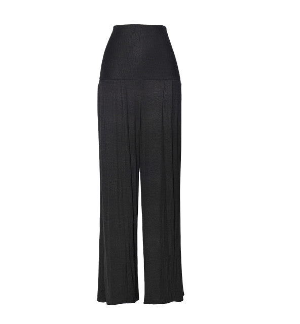 Black Modal Jersey High Waist Pants