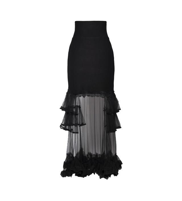 Black Modal Jersey Skirt with Tulle and Lace Ruffle