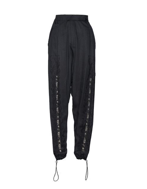 Black Modal Lace Front Seam Pants