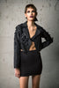 Black Silk 3D Appliqué Biker Jacket
