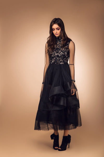 Black Tulle Horse Hair Hem Dress with Beaded Bust