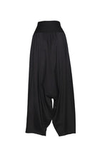 Load image into Gallery viewer, Black Modal Cotton Drop Crotch Pants with Stretchable Waistband