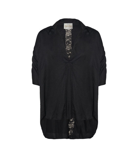 Black Modal Cotton Exaggerated Top with Back Lace Detail