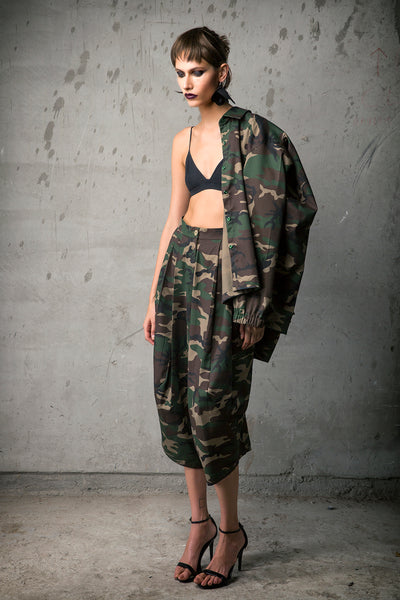 Camouflage Gabardine Bubble Back Jacket