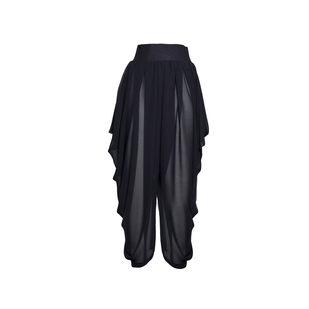 Black Sheer Chiffon Draped Pant