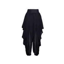 Load image into Gallery viewer, Black Sheer Chiffon Draped Pant