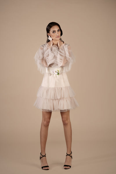 Nude Tulle Ruffled Kaftan With Off White and Lilac Floral Belt