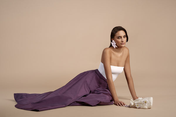 Purple Pure Silk Taffeta Wide Leg Pant