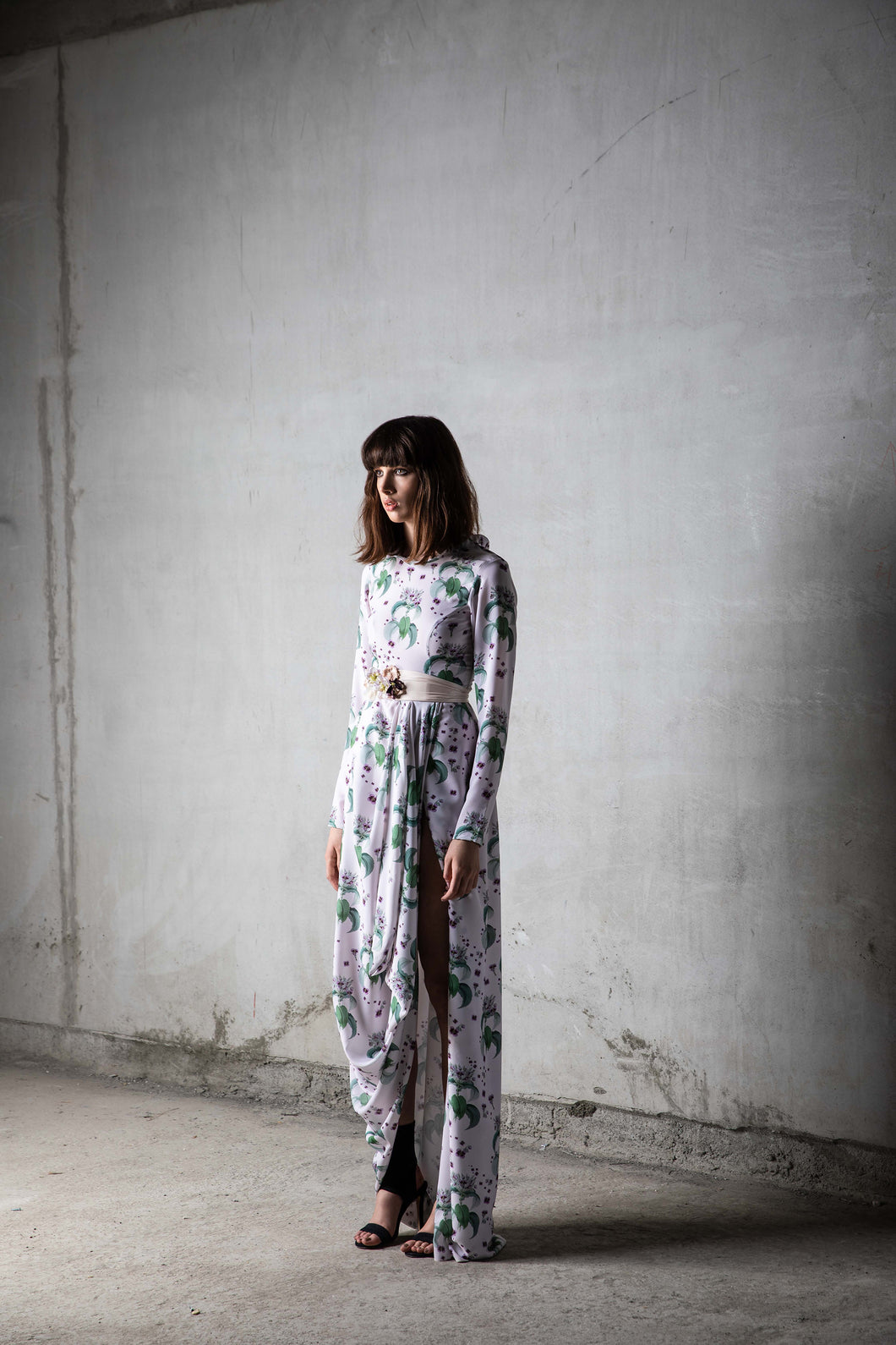 Floral Print Maxi Crepe Orchid with Slit