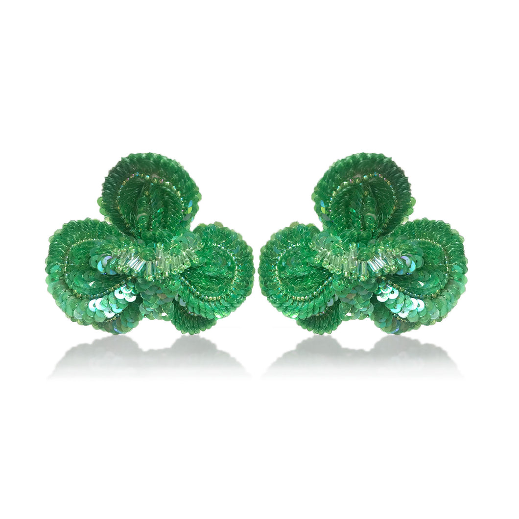 Green Orchid Earrings