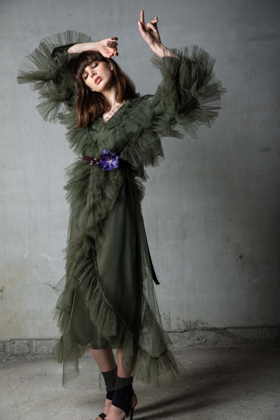 Khaki Tulle Kaftan with Orchid Floral Belt