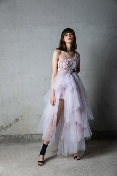 Lilac Handmade Sequin Floral Tulle Panel Dress