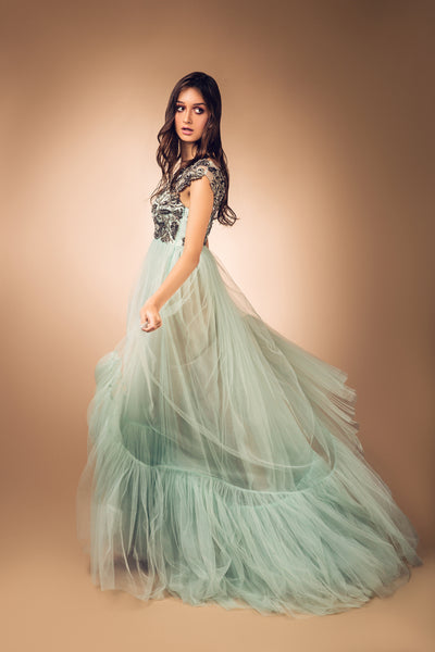 Mint Green Ruffled Gown with Antique Silver Beaded Bust
