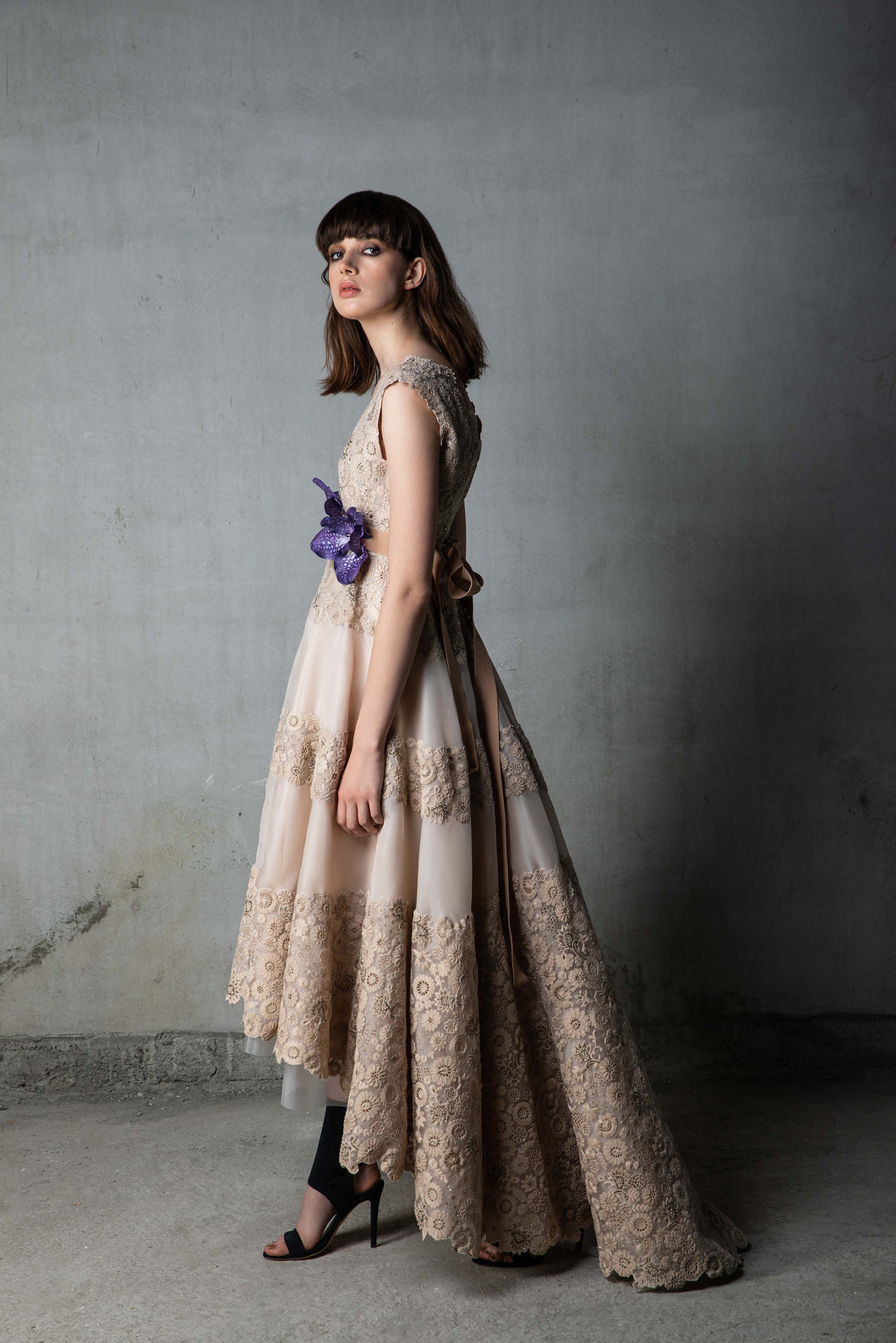 Nude Thread Organza Gown Floral Belt