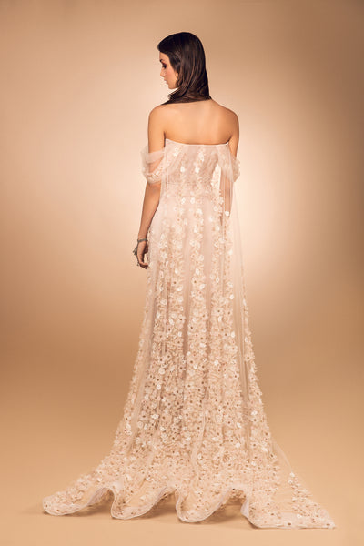 Nude Tulle Gown with Back Cape and 3D Rosettes
