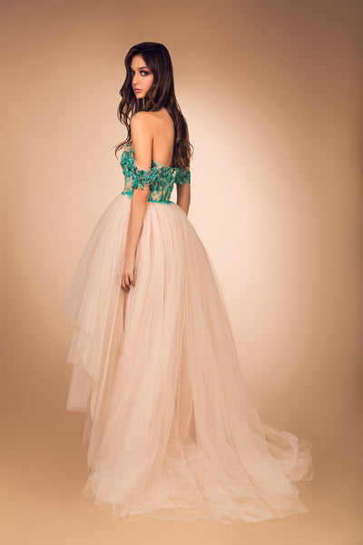 Nude Tulle Graded Hem Gown and Green French Lace Bustier