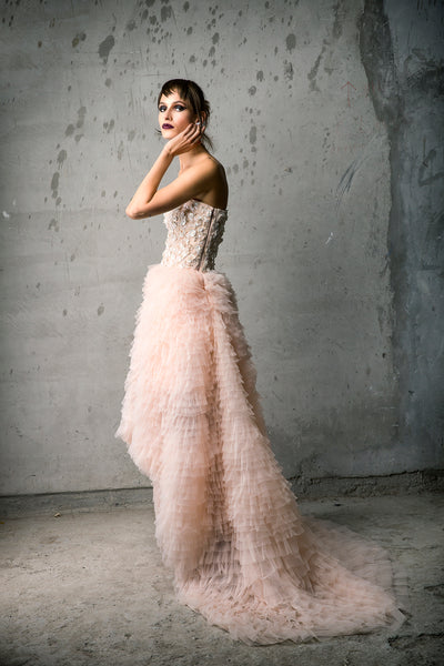 Nude Tulle Tiered Gown with Floral Bust