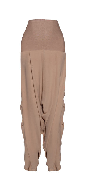 Nude Crepe High Waist Draped Seam Pants