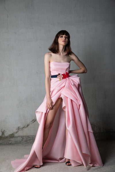 Pink Silk Gazar Gown with Floral Bouquet Belt