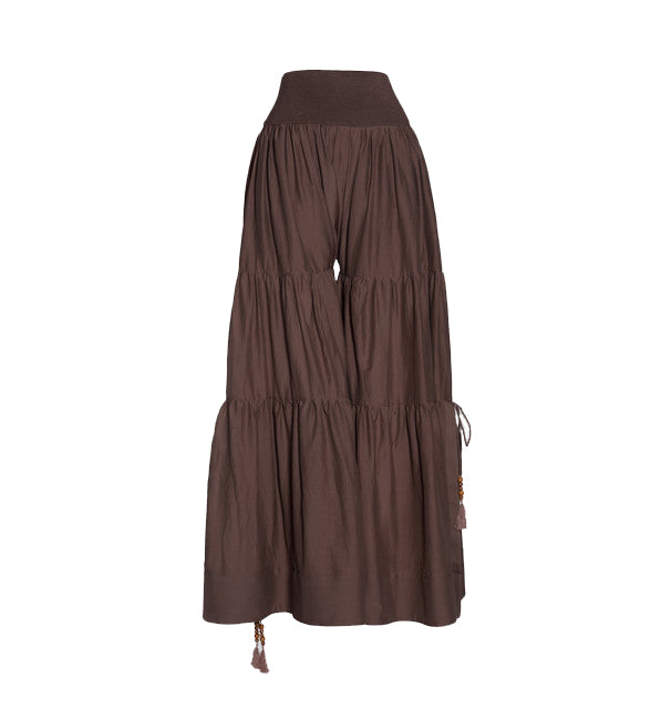 Pale Cocoa Cotton Tiered Wide Leg Pants
