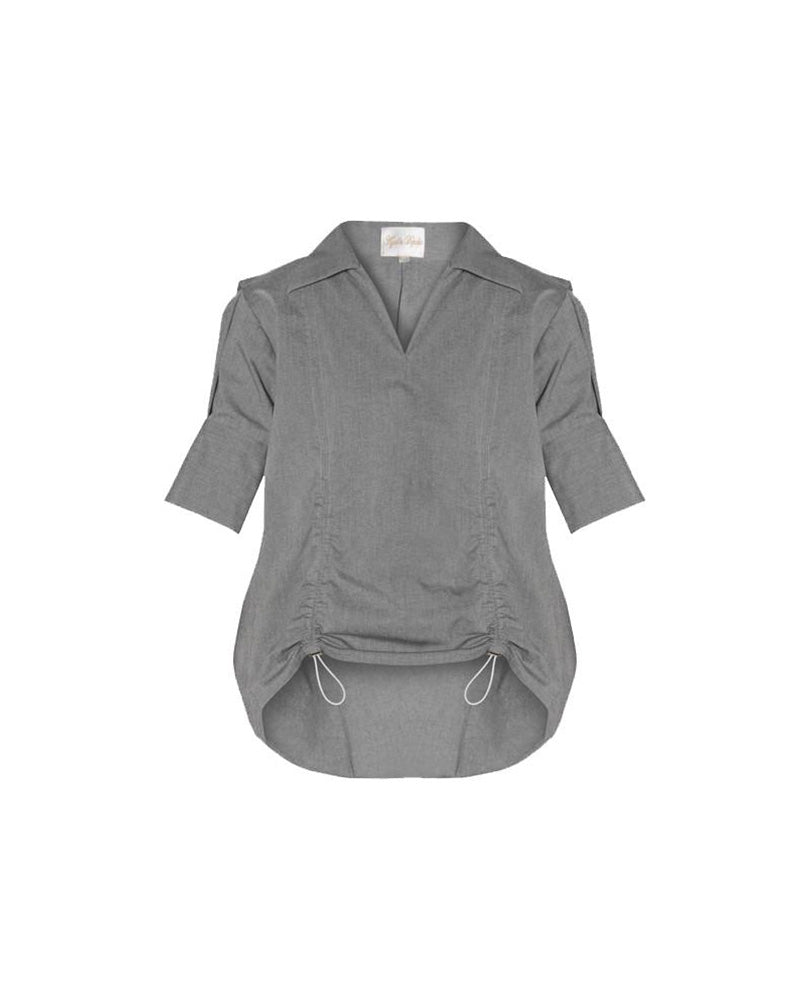Grey Cotton Exaggerated Back Shirt