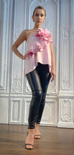Load image into Gallery viewer, Pink Poplin One Sleeve Bow Blouse