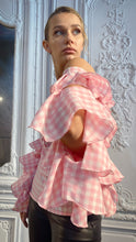 Load image into Gallery viewer, Gingham Cutaway Sleeve Blouse