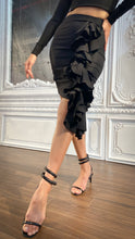Load image into Gallery viewer, Black Ruffle Asymmetrical Skirt